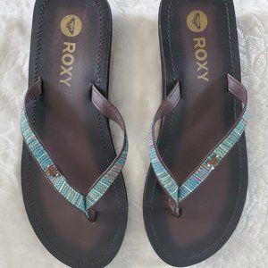 ROXY womens brown leather flip flops